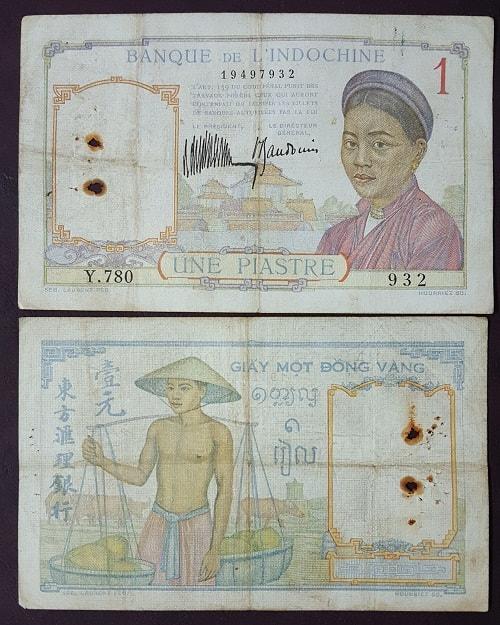 1 Đồng Gánh Dừa 1932 Chữ Đỏ (Hiếm)