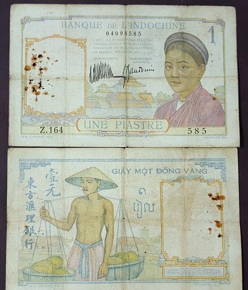 1 Đồng Gánh Dừa 1932 Chữ Xanh (Hiếm)