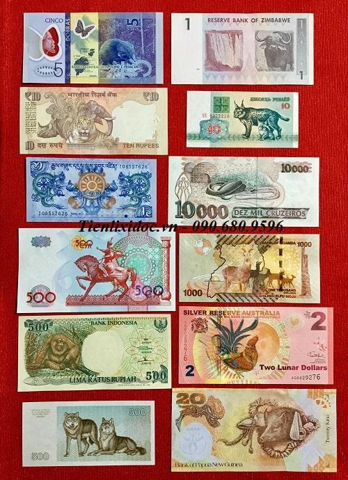 Bộ  Tiền 12 Con Giáp Tiền Thật Của Các Nước