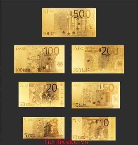 Bộ Tiền Euro Mạ Vàng 24K