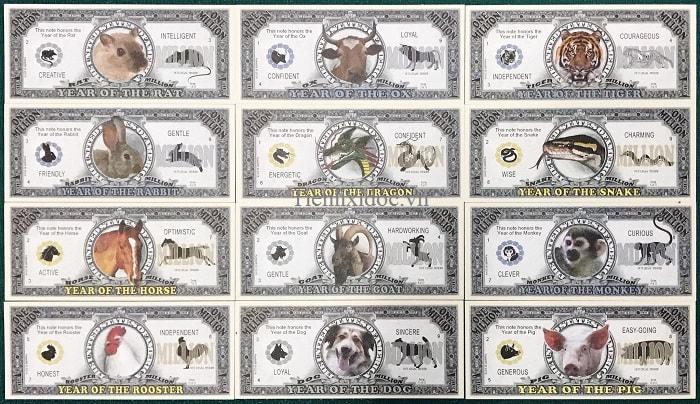 Bộ Tiền Kỉ Niệm Triệu Đô 12 Con Giáp Của Mỹ