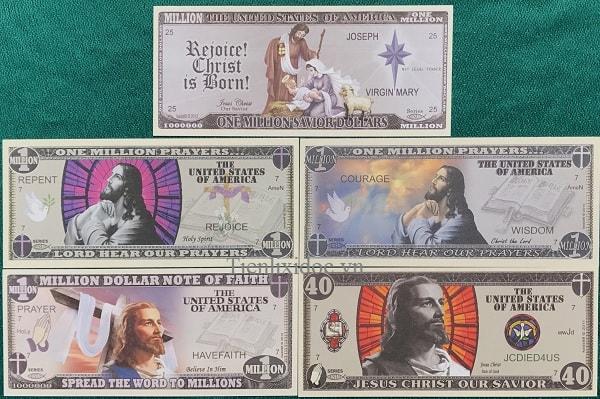 Bộ Tiền Kỉ Niệm Triệu Đô In Hình Chúa Giê su