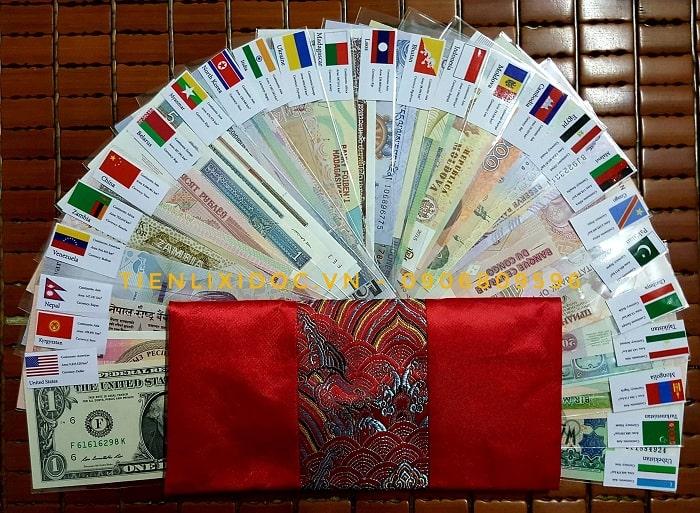 Bộ Tiền Lì Xì 28 Nước 52 Tờ - Bản Cờ Tiếng Anh