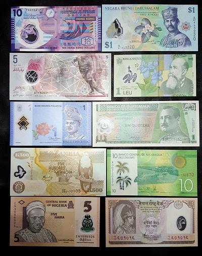 Bộ Tiền Polime 10 Tờ 10 Nước Khác Nhau