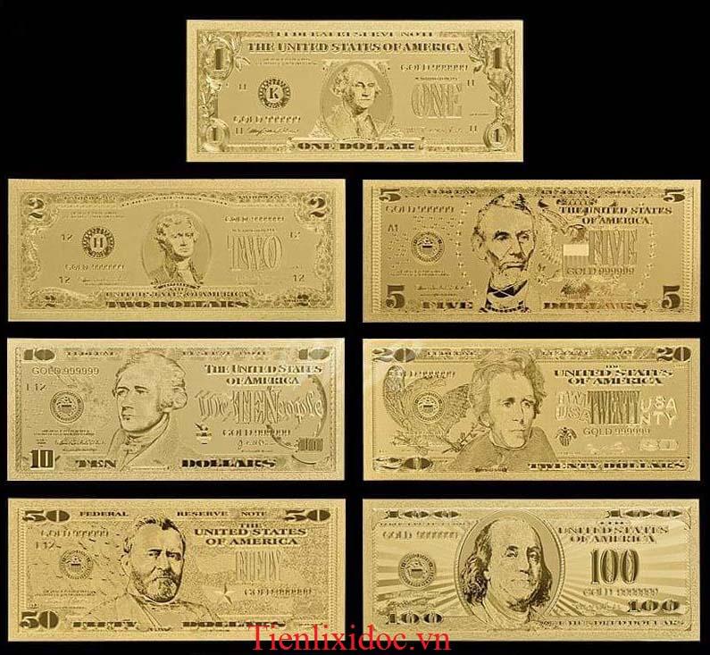 Bộ Tiền Usd Mạ Vàng 24K