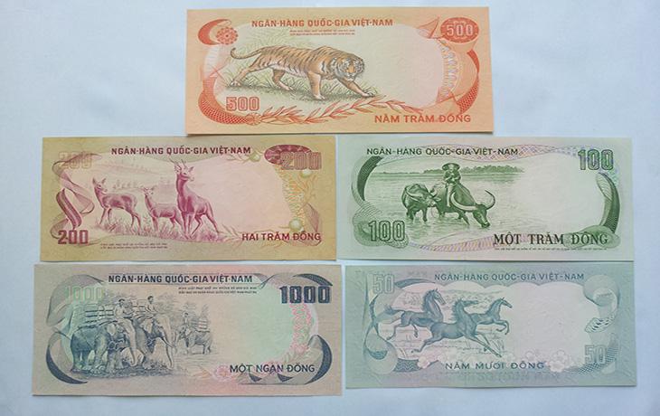 Bộ Tiền Việt Nam Cộng Hòa 1972(Bộ Thú)