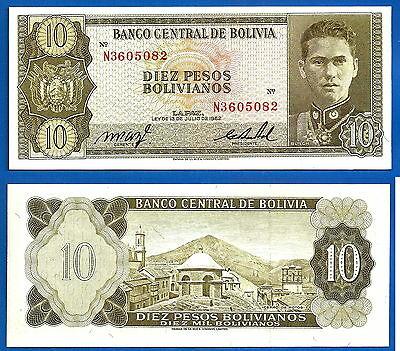 Bolivia 10 bolivianos 1962