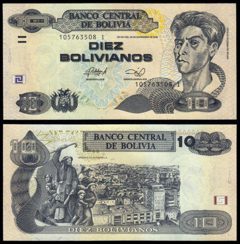 Bolivia 10 bolivianos 1986