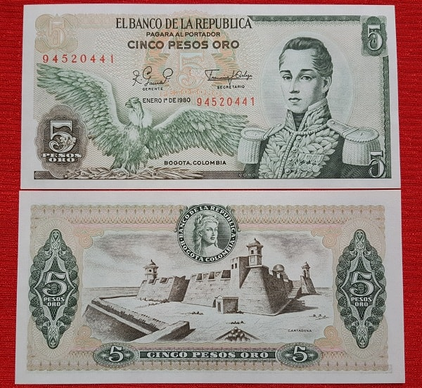 Colombia 5 cinco pesos 1977