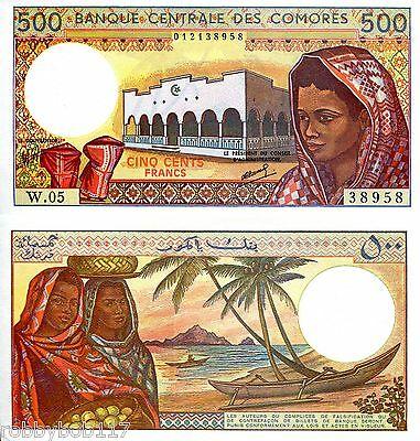 Comoros 500 francs 1986