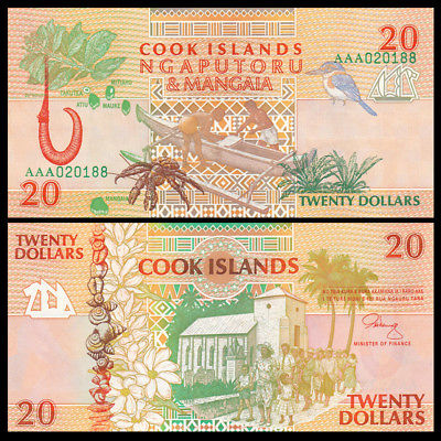 Cook Islands 20 dollars 1992