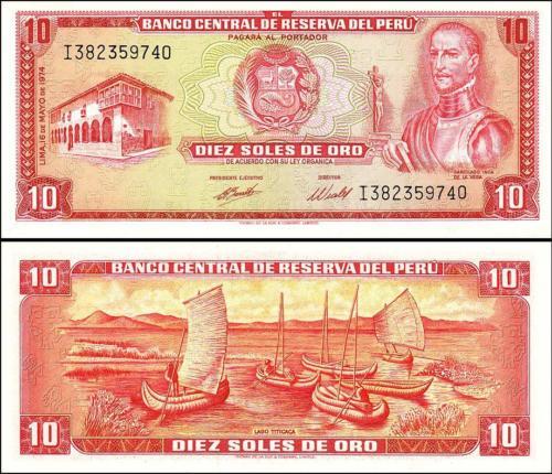 Peru 10 soles de oro 1974