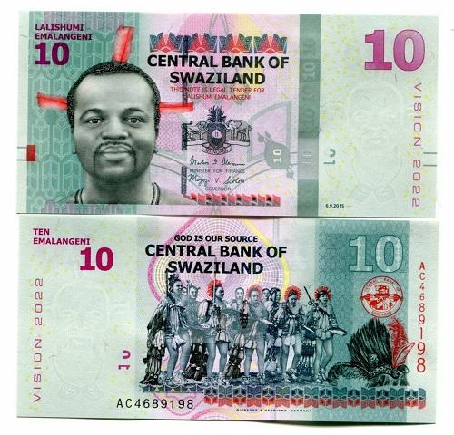 Swaziland 10 lilangeni 2015