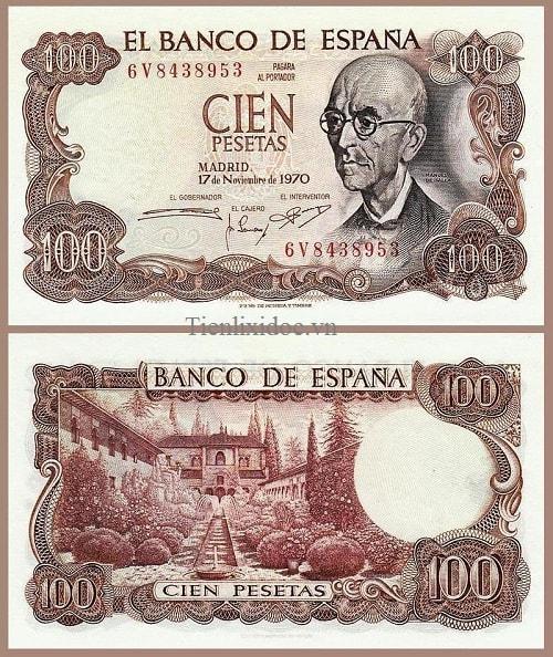 Tây Ban Nha 100 pesetas 1970