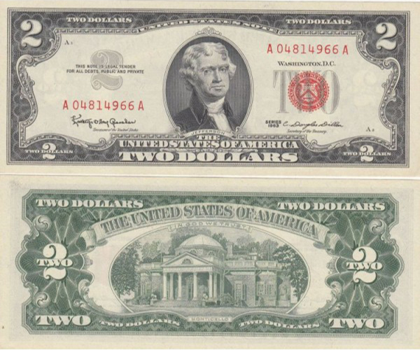Tiền 2 Usd Năm 1963