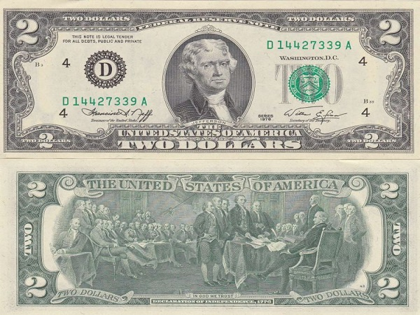 Tiền 2 Usd Năm 1976