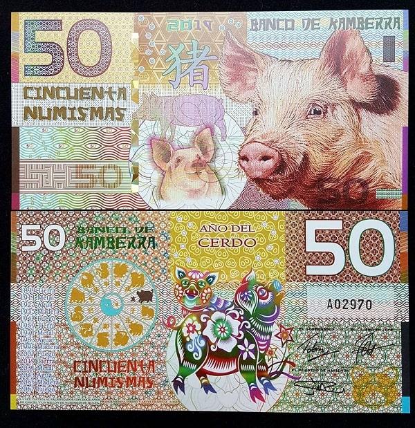 Tiền Con Heo Kamberra Úc 50 Numismas