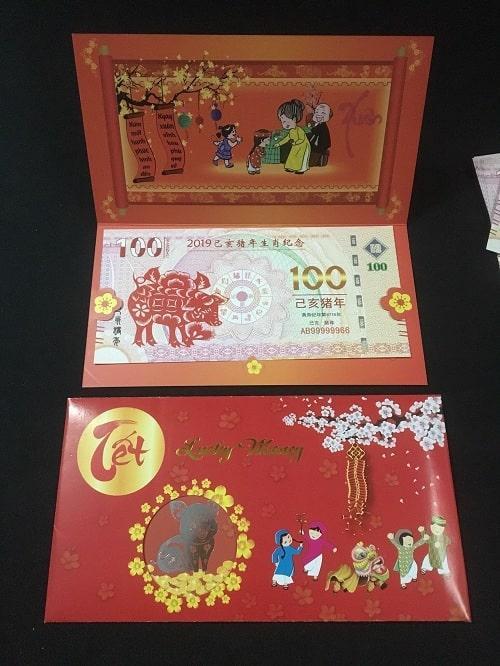 Tiền Con Heo Macao Lưu Niệm 100 patacas