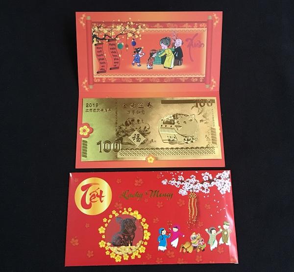 Tiền Con Heo Macao Plastic Mạ Vàng