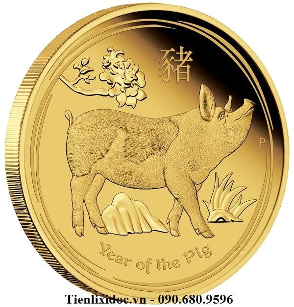 Tiền Xu Úc Hình Con Heo Mạ Vàng