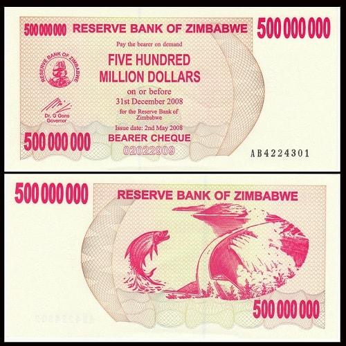 Tiền Zimbabwe 500 Triệu Đô La