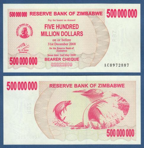 Zimbabwe 500 000 000 dollars 2008