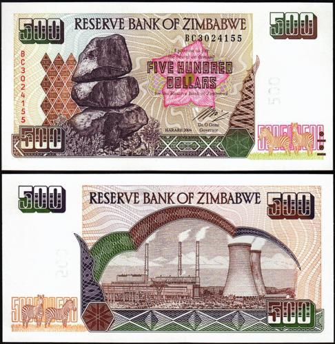 Zimbabwe 500 dollars 2004